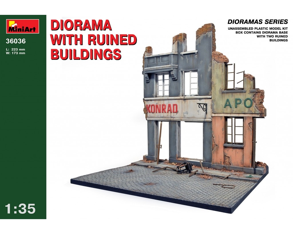 DIORAMA W/RUINED BUILDINGS